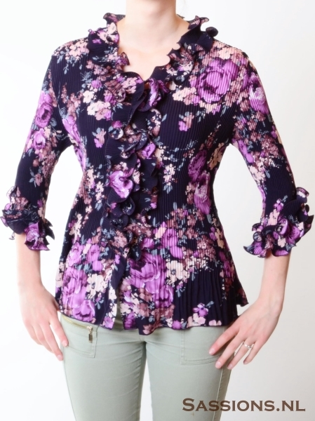 Blouse paars/blauw maat  L